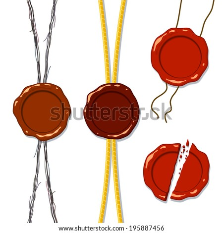 Set of Wax seal on a rope, a separate whole and splintered into pieces; Raster Version