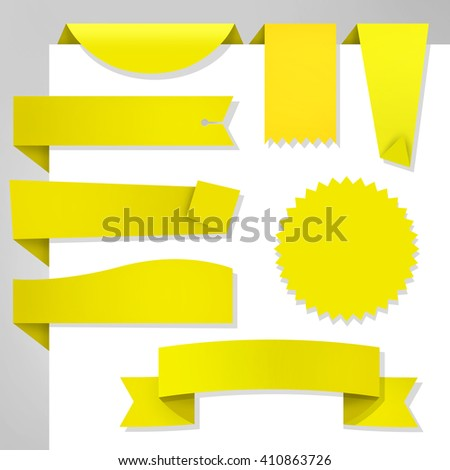 Set of Web yellow stickers / Labels on th ewhite - stock photo