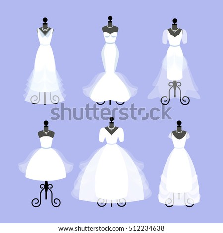 Set Wedding Dresses Fashion Gowns On Stock Illustration 512234638 ...