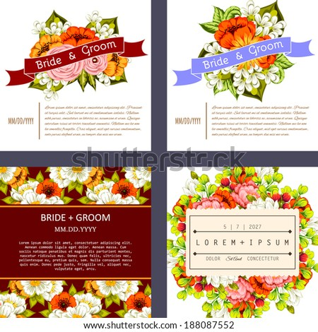 Set of Wedding invitation cards with floral elements.