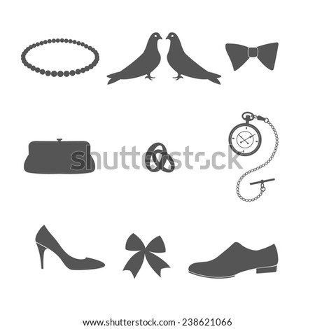 Set of wedding invitation vintage design elements. Raster illustration. - stock photo