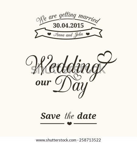 Set of wedding vintage typographic elements for invitation design