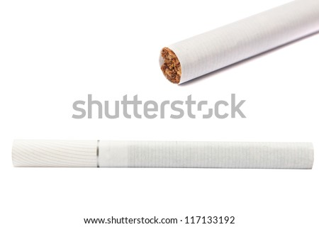Set of 2 white cigarettes on white background