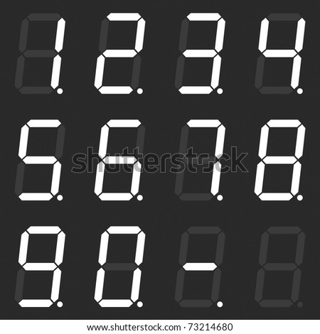 Set of white digital numbers - stock photo
