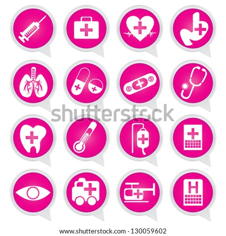 Set of White Medical Tools on Pink Icons Isolated on White Background
