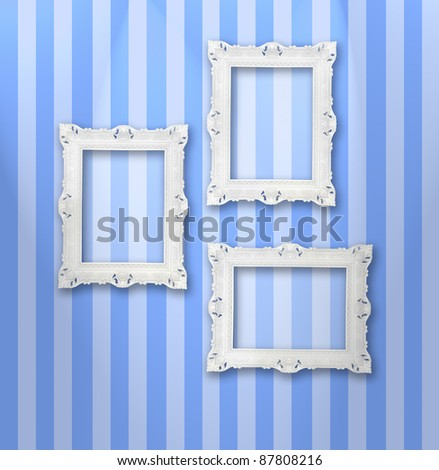 Set of white ornamental frames on a stripy wallpaper, similar available in my portfolio - stock photo