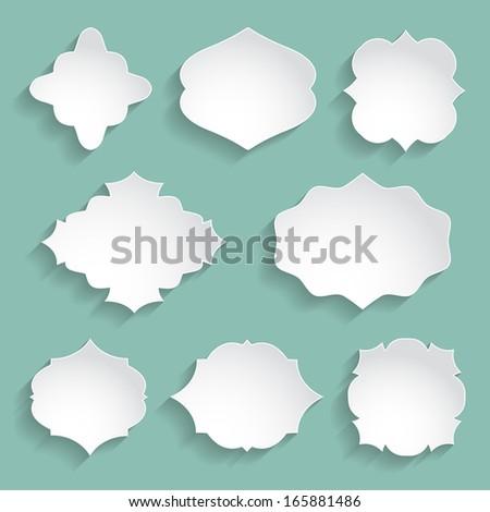 set of white paper decorative frames - stock photo