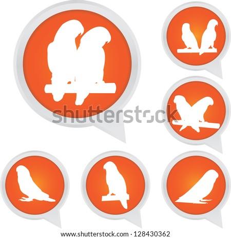 Set Of White Parrot Bird on Orange Icons Isolated on White Background - stock photo