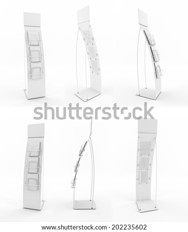 Set of white promotional stands isolated on a white background. - stock photo