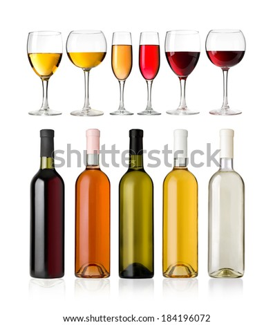 Set of white, rose, and red wine bottles and glas. isolated on white background - stock photo