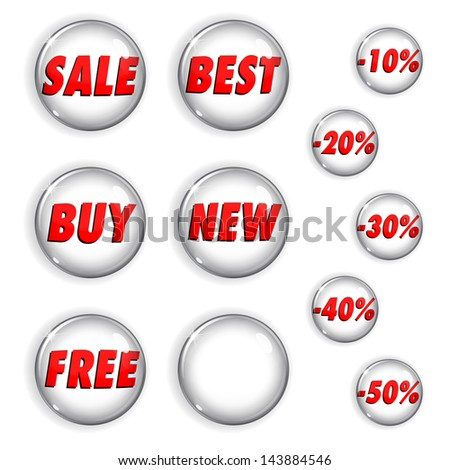 Set of white shiny buttons from glass for web design. With inscriptions on sales and discounts. Raster version. - stock photo