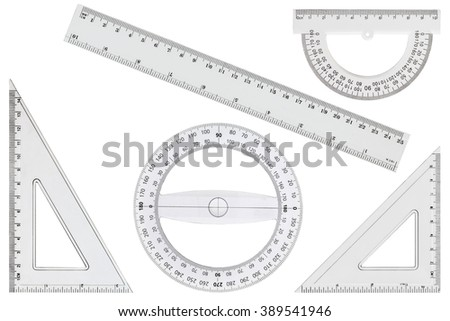 Set of white transparent rulers, isolated on white background - stock photo