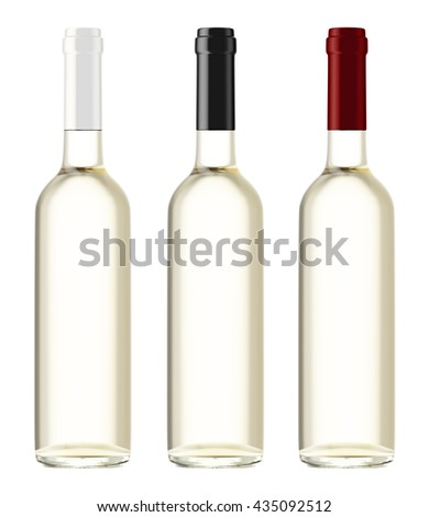 Set of white wine bottles with caps isolated on white background. 3D Mock up for your design. - stock photo