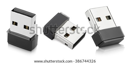 Set of Wi-Fi wireless USB adapters isolated on white with clipping path