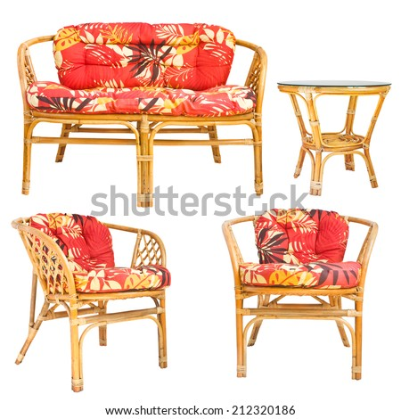 Set of wicker furniture isolated on white background - stock photo