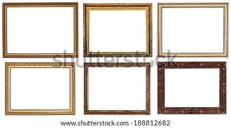 set of wide retro wooden picture frames with cut out canvas isolated on white background
