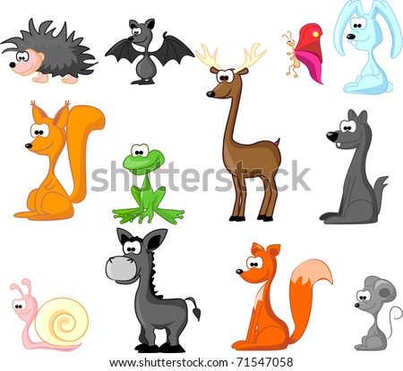 set of wild animals   Forest - stock photo
