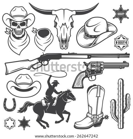 Set of wild west cowboy designed elements. Monochrome style - stock photo