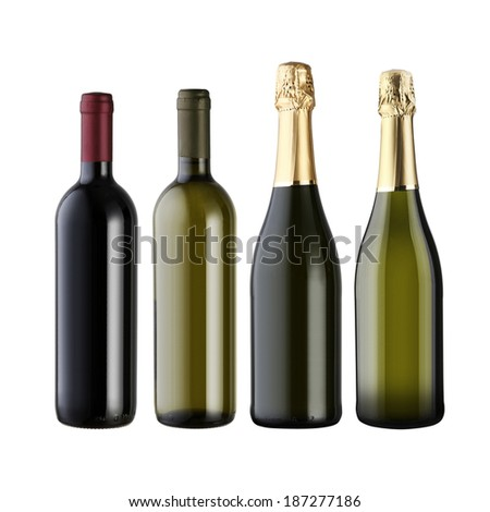 Set of wine bottles isolated on white background with blank copy space. - stock photo