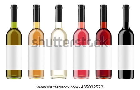 Set of wine bottles with black caps isolated on white background. Bottles with a label. 3D Mock up for your design. - stock photo