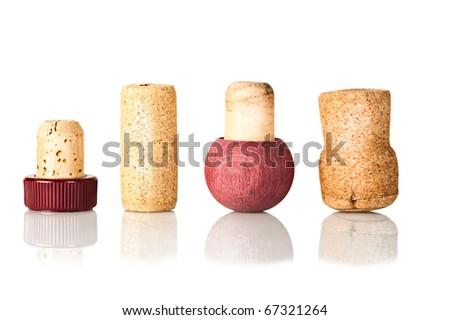 Set of wine corks isolated on white background - stock photo