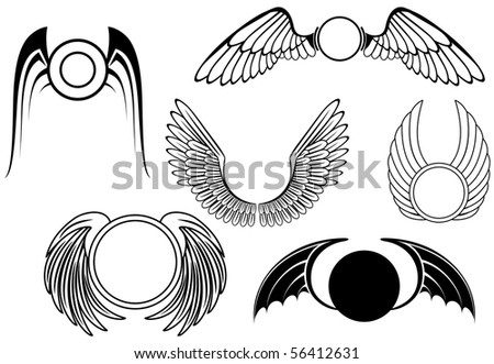 Set of wing symbols - also as emblem. Vector version also available - stock photo