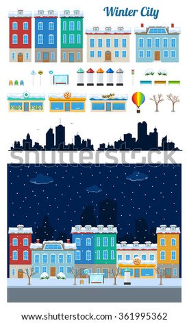 Set of winter urban city buildings and constructions in snow to make a real street from - stock photo