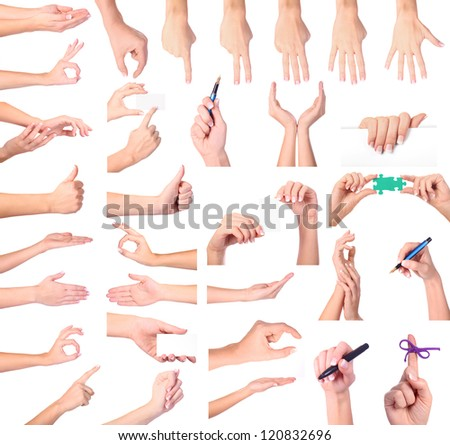 Set of woman hands isolated on white background - stock photo