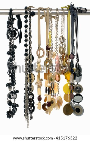 Set of woman many belts on hangers - stock photo