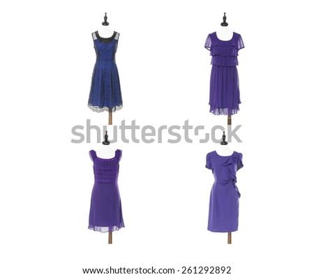 Set of women evening dress on four dummy - full-length - stock photo