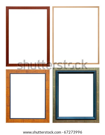 set of wooden colored picture frame, isolated with clipping path - stock photo