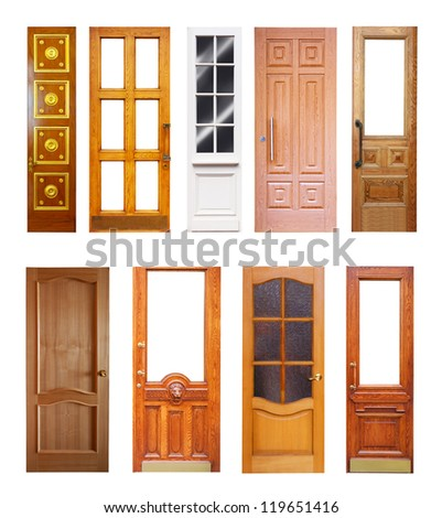 Set of wooden doors. Isolated on white background - stock photo