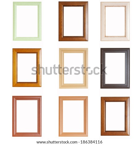 Set of wooden frames isolated on white background - stock photo