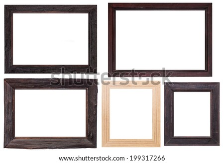 Set of wooden frames, isolated on white background - stock photo