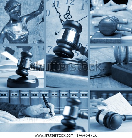 Set of wooden gavel and law 3 - stock photo