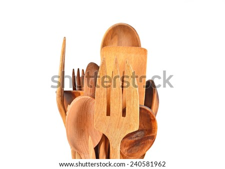 Set of wooden kitchen utensils, isolated on white background - stock photo