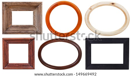 set of wooden picture frame with cutout canvas isolated on white background - stock photo
