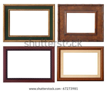 set of wooden rustic frame, isolated with clipping path - stock photo