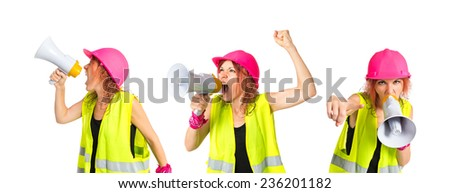 Set of Worker woman shouting over isolated white background - stock photo
