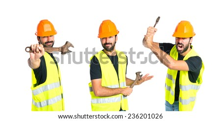 Set of workman with wrench over white background