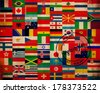 set of world flags on texture and stamp - stock photo
