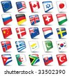 Set of world flags. Raster version of vector illustration. - stock photo