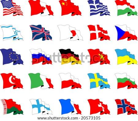 Set of world flags, raster version of vector illustration - stock photo