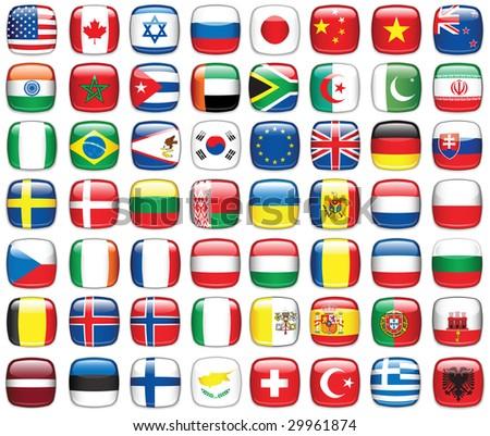 Set of world flags.Raster version of vector illustration. - stock photo