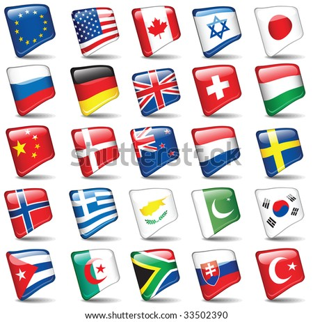 Set of world flags. Raster version of vector illustration.