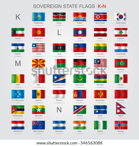 Set of world sovereign state flags with captions in alphabet order.  Contains the Clipping Path of all flags