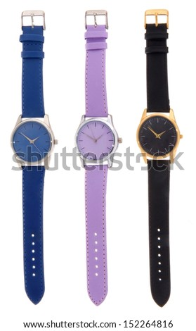 set of wrist watches isolated on white. blue, purple and black - stock photo