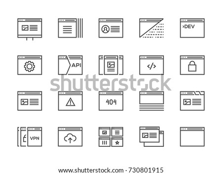 Set of 48x48 Minimal Browser, Developing, App and Coding Vector