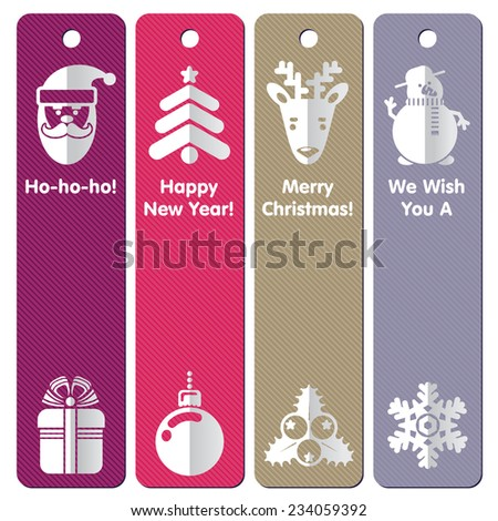 Set of Xmas Sale labels or banners - stock photo