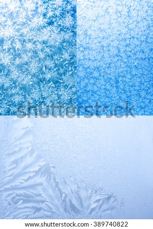 Set of Xmas wallpapers of backgrounds. Hoarfrost on frozen window - stock photo